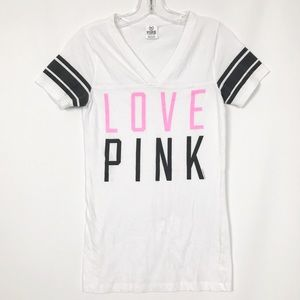 PINK Victoria's Secret White Love Pink T-Shirt